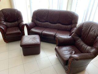 Conjunto sofá de piel