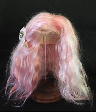 Blythe REROOT pelo natural mohair rosa