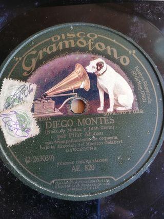 Diego Montes. Disco pizarra para gramófono.