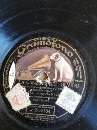 Canción del olvido. Disco pizarra para gramófono.