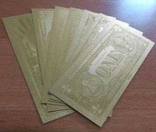Billetes dolares en oro 99,9% puro en 24Qlt.