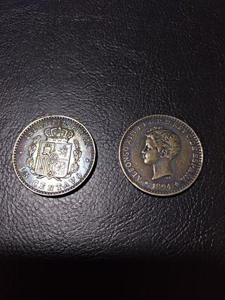replica moneda 1 centavo filipinas Alfonso XIII