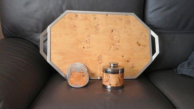 Conjunto juego bar vintage, en madera de olivo