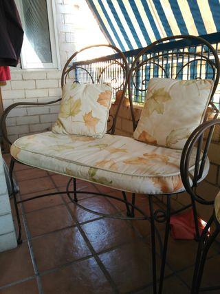 Conjunto mueble jardín de hierro forjado