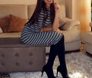 Vestido de rayas ceñido; Talla M