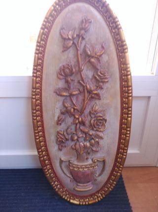 Cuadro de escayola imitación madera antigua