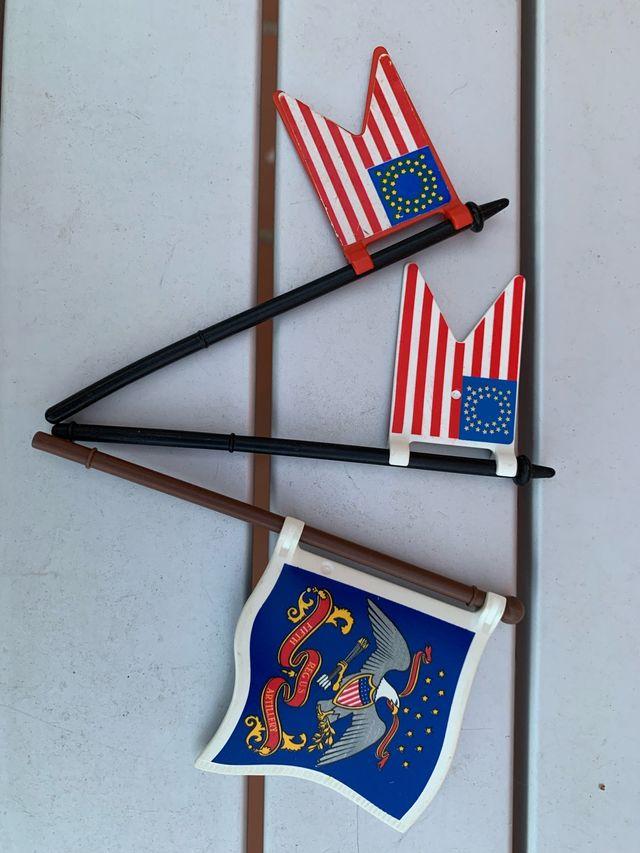 2 banderas yankis playmobil. Bandera azul vendida