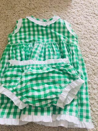 Vestido niña Vichy verde Gansetes