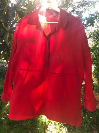 COS camisa roja muy bonita, talla S, 100% cupro