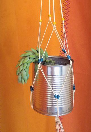 Macetero de macramé / planta platanitos, cristal