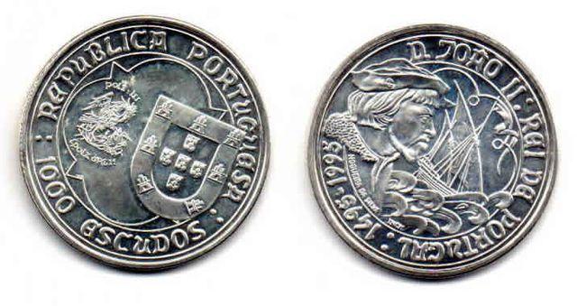 Moneda plata Portugal de 1000 escudos año 1995
