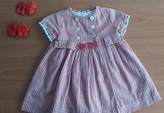 Vestido de cuadros Vichy en rojo Talla 18