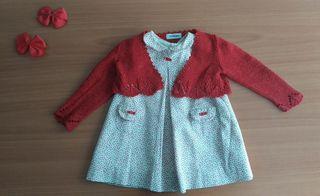 Vestido en tonos rojos Talla 12 meses