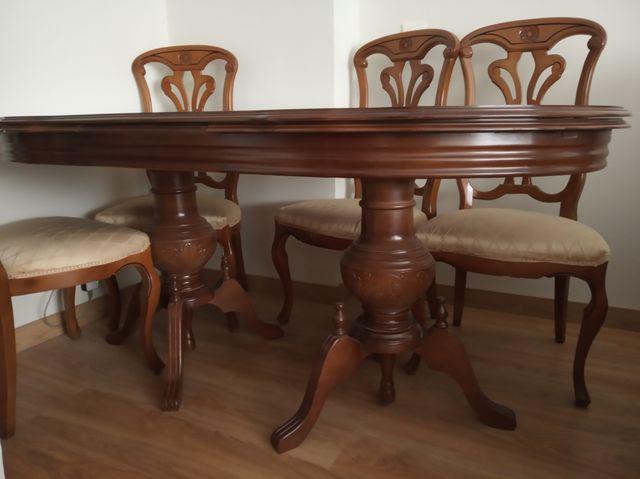 Mesa comedor antigua y 6 sillas tapizadas de segunda mano por 100 ...