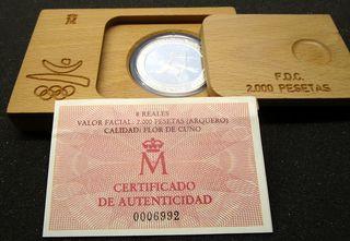 Año 1990 MONEDA PLATA 2000 ptas FDC Barcelona 92