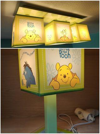 Lámpara de techo y mesilla