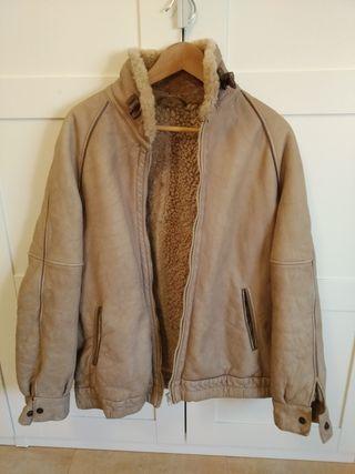 chaqueta cuero napa borrego marrón