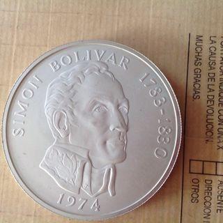 20 Balboas de Panamá en plata peso 129 grs.