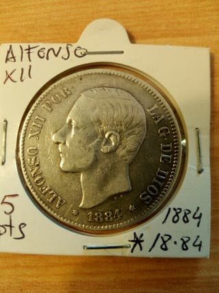 moneda antigua plata Alfonso 12
