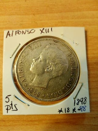 moneda antigua plata Alfonso 13