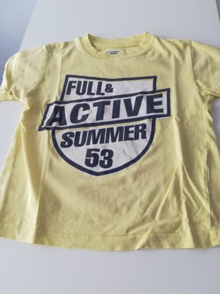 Camiseta manga corta niño amarilla Talla 3-4 años
