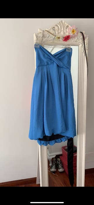 Vestido azul palabra de honor Zara