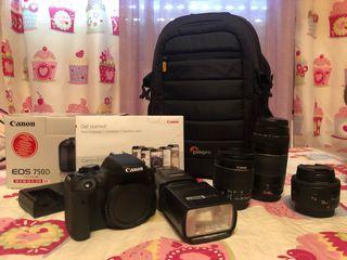 Réflex Canon 750D + 3 Objetivos + Flash + Mochila