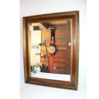Muy Antiguo espejo original marco de madera