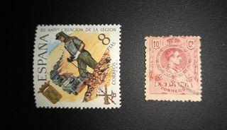 Sello Alfonso XIII y Sello 50 aniversario Legión