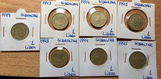 Moneda 1 Libra GIBRALTAR. FECHAS RARAS