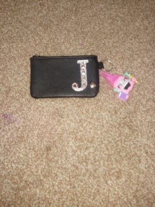Personalized J purse with a little keychain.