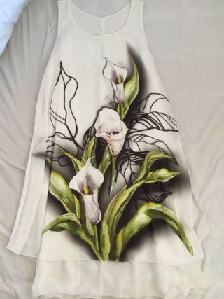 Vestido, camiseta larga con etiqueta