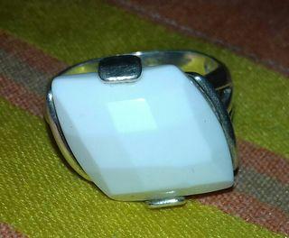 anillo plata piedra labrada talla 16