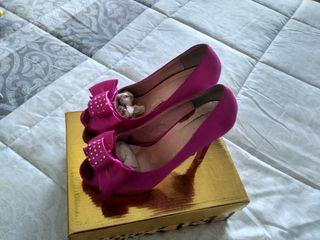 zapatos plataforma fucsia