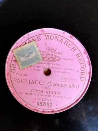Pagliacci. Disco de pizarra gramófono