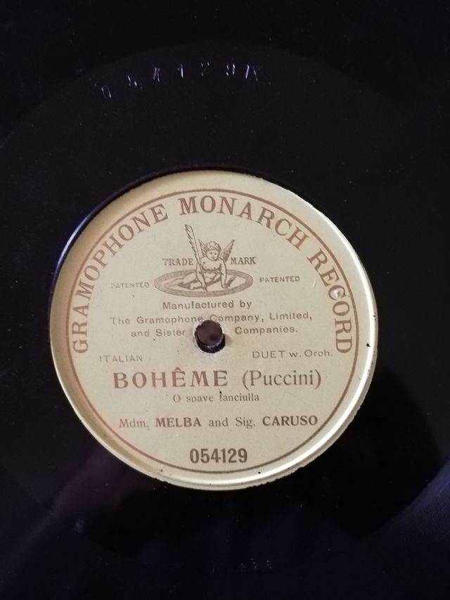 Boheme (Puccini). Disco pizarra gramófono
