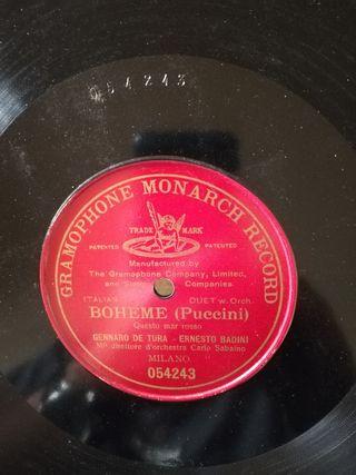 Puccini. Boheme. Disco pizarra gramófono
