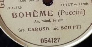 Boheme. Caruso. Disco pizarra gramófono