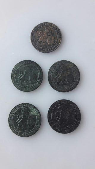 5 monedas de 2 centemos