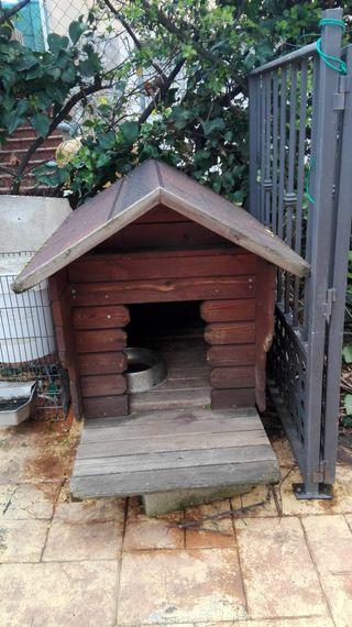 caseta perro grande madera