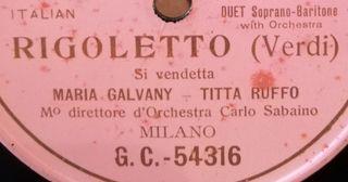 Rigoletto. Si vendetta. Disco pizarra gramófono