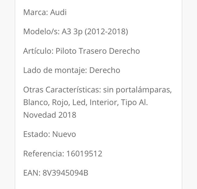 Faro trasero Audi a3