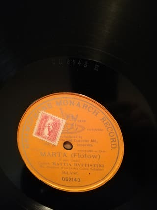 Marta (Flotow). Disco pizarra gramófono