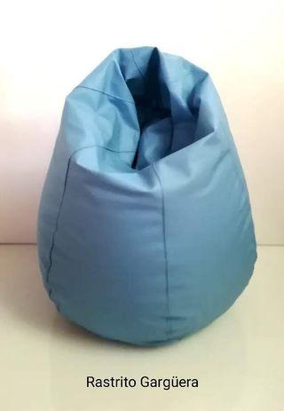 Puff azul polipiel XL nuevo