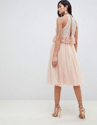 Vestido De Fiesta Rosa Palo Con Plumas Vestidos De Coctel