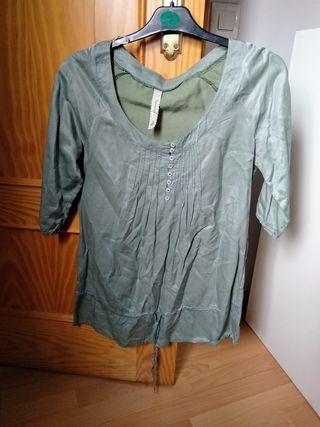 Blusa verde agua Stradivarius, talla M