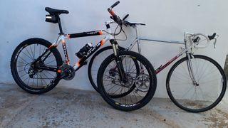 Lote de dos bicicletas; montaña y carretera
