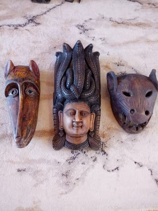 3 x large wooden masks from India.