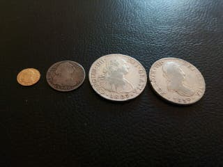 lote monedas antiguas oro y plata