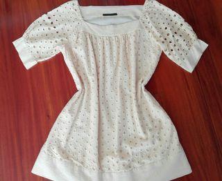 Blusa Bordada beige Ropa vestidos camisas faldas